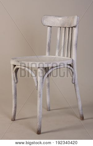 Old Vintage White Wooden Chair Isolated On White Background