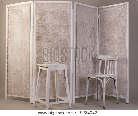 Old White Wooden Chair, Chair And Folding Folding Screen Isolated On Gray