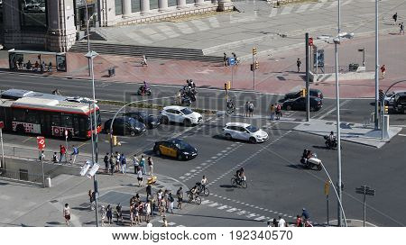 View of a road with a pedestrian crossing in Barcelona Spain July 2016
