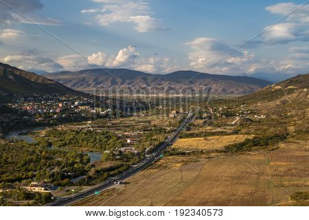 View of Metztu Georgia from the Jvari Monastery. Mtskheta the valley of the confluence of the Aragvi and Kura rivers the road to Tbilisi