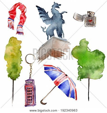 Watercolor London illustration. Great Britain hand drawn symbols. Aquarelle elements for background