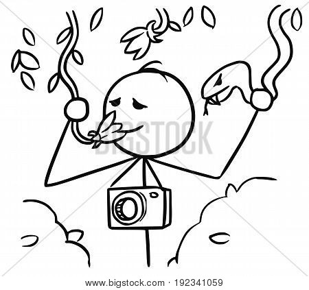 Cartoon vector stickman tourist with camera smelling liana flower in jungle forest and holding a snake by mistake instead of a flower