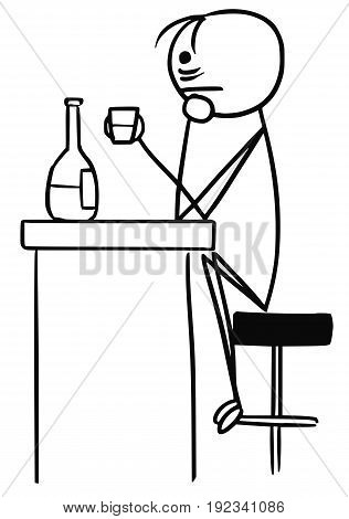 Cartoon vector stick man sad men in depression is drinking sitting in the bar alone with half empty bottle