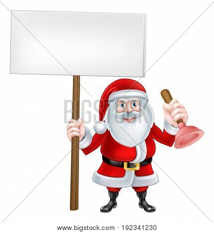 A Christmas cartoon illustration of Santa Claus holding plunger and sign