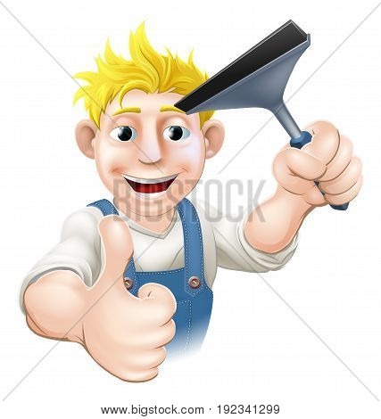 A Window Cleaner man holding a Squeegee and giving athumbs up