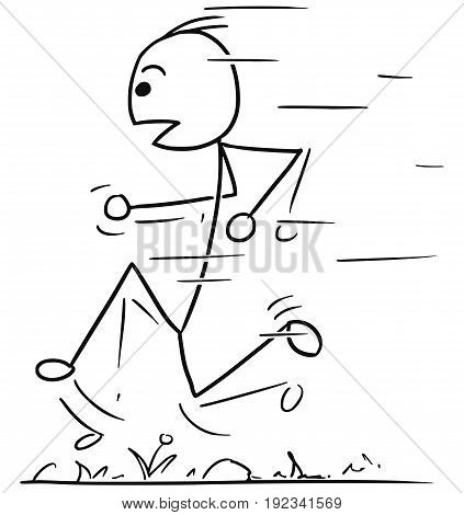 Cartoon vector stickman man running jogging fast