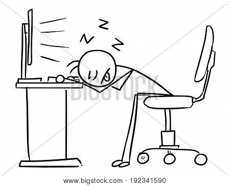 Cartoon vector doodle stick man office worker is sleeping with head on the office table in front of the computer screen deadly tired overworked and sleepy