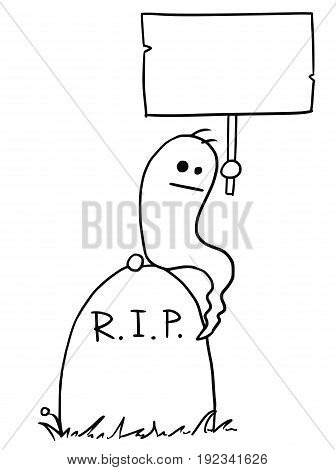 Cartoon vectorghost sitting on the tombstone grave with empty sign in his hand
