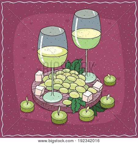 Glasses Of White Wine With Bunch Of White Grapes