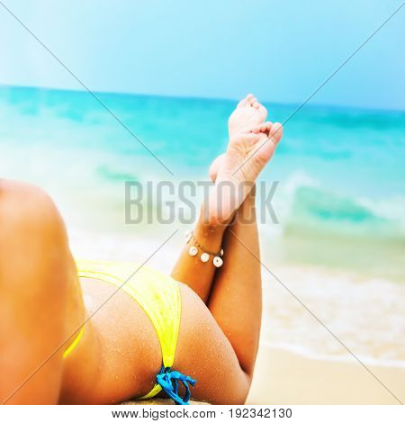 Suntan Female Foot Bikini Lying Tropical Beach