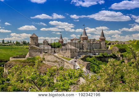 Old Castle in Kamenets-Podolsky night view. Ukraine