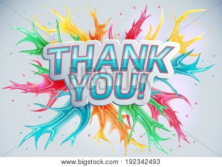 Thank you on a colored background. Vector illustration.