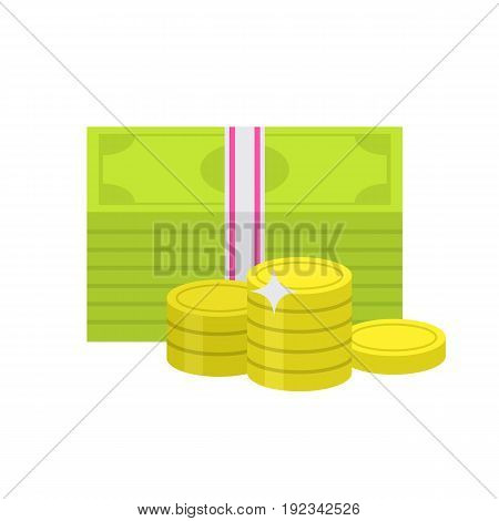 Flat money icon. Bundle of banknote money and coins. Web and mobile design element. Cash, currency and dollar symbol. Vector colored illustration isolated on white background