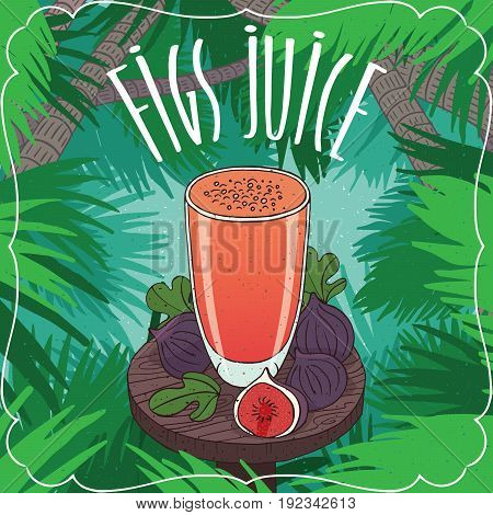 Fresh Fig Fruit Or Figs Juice In Glass