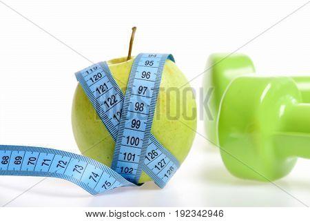 Tape For Measurement Tied Around Fresh Juicy Apple