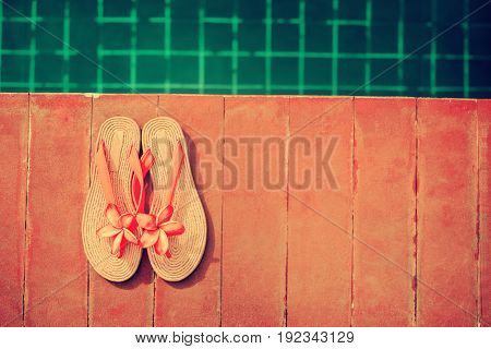 Slippers Pink Frangipani Swimming Pool Summer