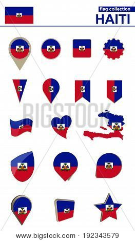 Haiti Flag Collection. Big Set For Design.