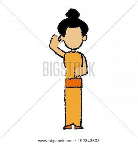 japanese woman in kimono traditional culture vector illustration