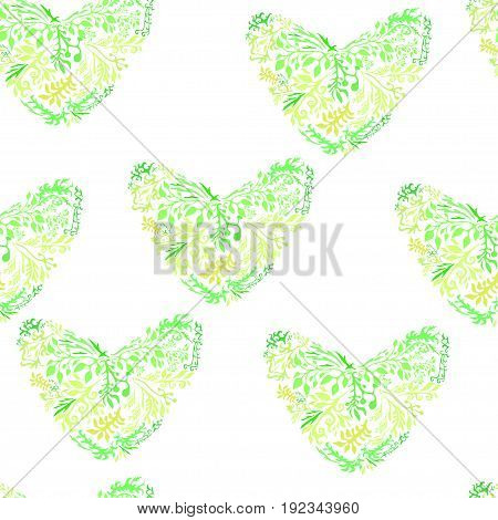 Vector green hearts the shape flowers and leaves . Design seamless pattern. Infinite texture can be used for wallpapers textiles fills background of a web page.