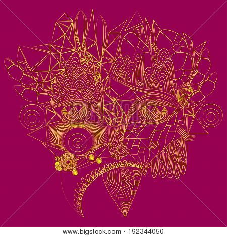 Vector the face of a cyber girl consisting of geometric elements in the form of triangles lines circles doodle zentangle golden yellow on a claret background.