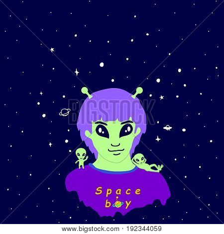 Vector illustration of a funny alien guy with antennas of purple hair green skin and two little cute green aliens on a background of space