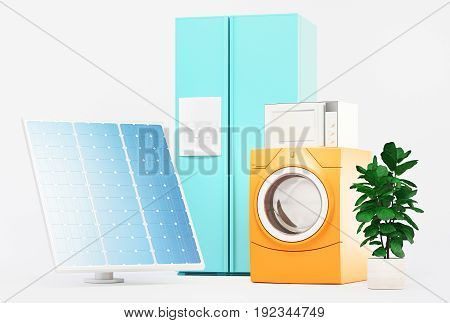 Appliances with solar panels, pure energy, 3d render illustration