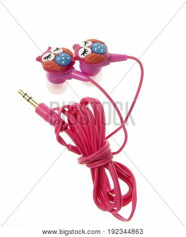 pink earphone with owl design isolated on white