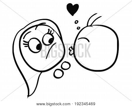 Cartoon vector of woman resisting the kiss from man in love with heart symbol above