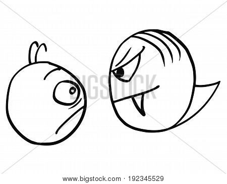 Cartoon vector of frightened and scared man who met the vampire