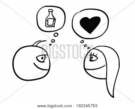Cartoon vector of difference between man and woman thinking about drink bottle flask and heart symbol of love and relationship