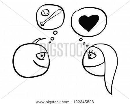 Cartoon vector of difference between man and woman thinking about baseball softball ball and bat and heart symbol of love and relationship