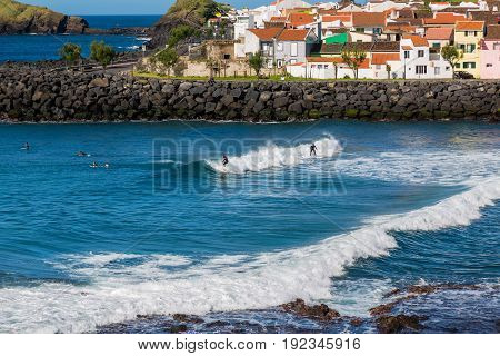 Sao Rogue, Azores, Portugal - May 16, 2017: Surf School In Sao Rogue On Sao Miguel Island