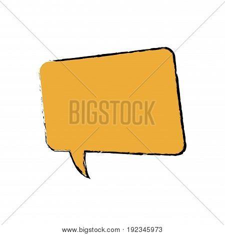 drawing yellow square bubble speech chat talk vector illustration