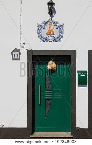 Sao Rogue, Azores, Portugal - May 16, 2017: Typical Home Decoration On The Island Of Sao Miguel