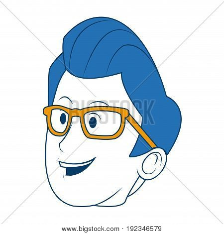 cartoon portrait head man male character vector illustration