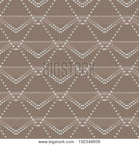 brown and white polygon and diamond shape dot line knitting pattern background vector illustration image