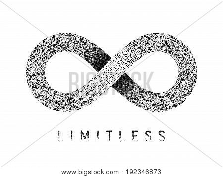 Stippled Limitless sign. Mobius strip symbol. Vector textured illustration on white background.