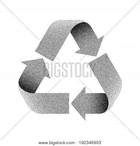 Stippled Recycle sign. Vector textured illustration on white background.