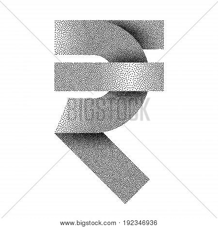 Stippled Indian Rupee sign icon. INR currency symbol. Vector textured illustration on white background.