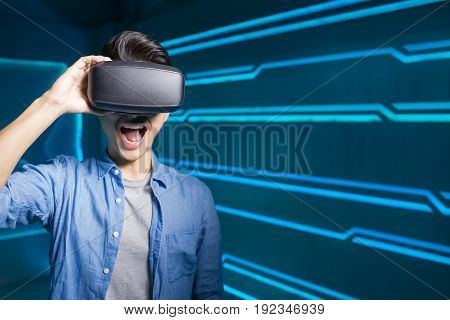 man wear vr on the technology background