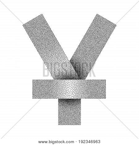 Stippled yen or yuan sign icon. Yen or yuan currency symbol. Vector textured illustration on white background.