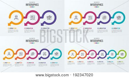 Set of timeline infographic templates with circular arrows. Vector illustration.
