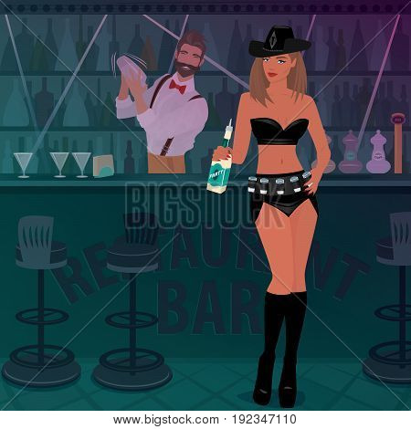 Promo Girl Offers Alcoholic Drink In The Bar