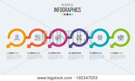 Six steps timeline infographic template with circular arrows. Vector illustration.