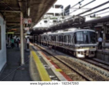 Vintage style tone . Abstract blur of Train at the station