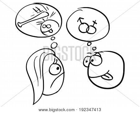 Cartoon vector of different expectations of man and woman on date man thinking about sex sexual intercourse male and female symbols and woman thinking about use of violence hit the man with baseball bat