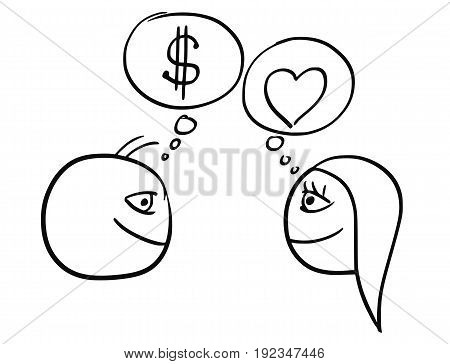 Cartoon vector of difference between man and woman thinking about relationship - money dollar sign and heart symbol of love