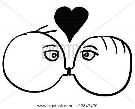 Cartoon vector of man and man two gay men in love kissing smooching each other with large heart symbol above their heads