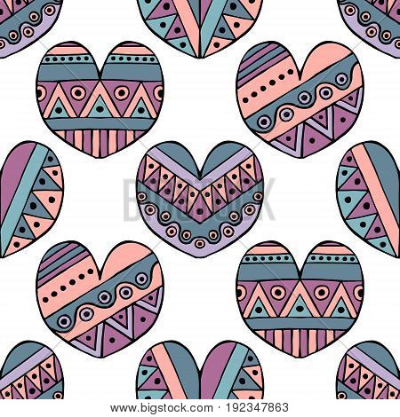 Vector Hand Drawn Seamless Pattern, Decorative Stylized Childlike Hearts. Doodle Style, Tribal Graph