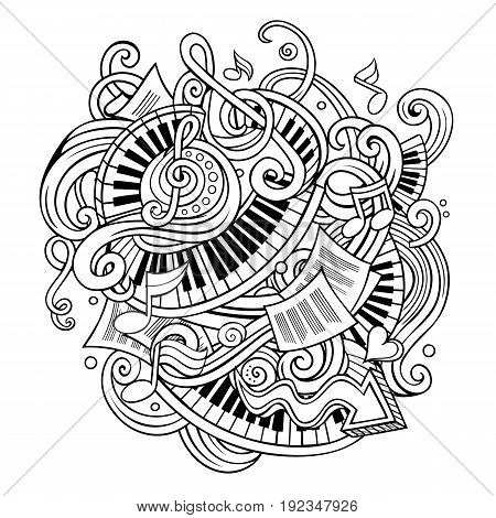 Cartoon cute doodles hand drawn Music illustration. Line art detailed, with lots of objects background. All items are separate. Funny vector artwork